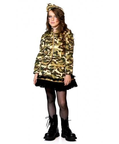 Детский карнавальный костюм военной: юбка, жакет, пилотка (Италия)