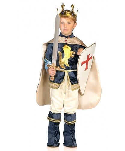 Детский карнавальный костюм короля : жакет, штаны, накидка, накладки на обувь, корона, щит (Италия)
