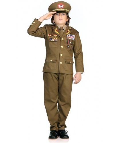 Детский карнавальный костюм военного генерала: пиджак, рубашка, штаны, фуражка, галстук, нашивки (Италия)