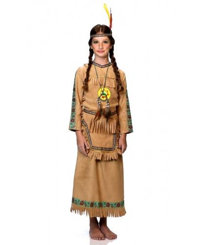 Платье индейской девочки: накладки на обувь, парик, пояс, рубашка, украшение на шею, юбка (Италия)