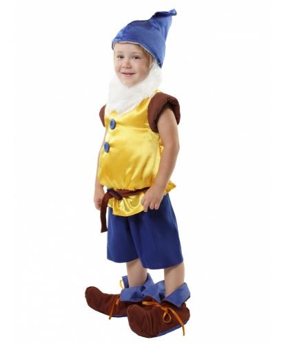 Детский костюм гнома (желтый, синий): жилет, колпак, пояс, накладки на обувь, шорты, борода (Россия)