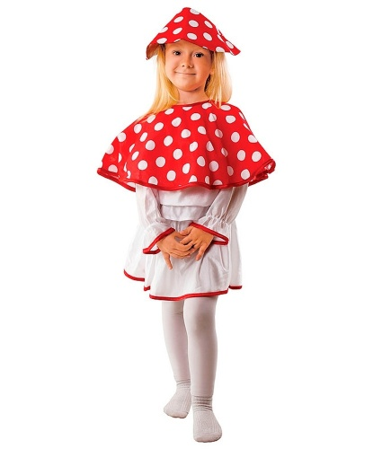 Костюм мухомора для девочки: головной убор, кофта, накидка, юбка (Польша)