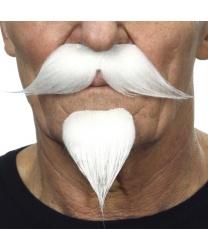 Усы с бородкой, белые