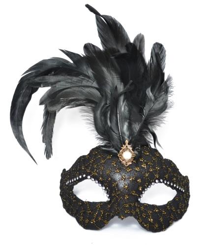 Венецианская маска Civetta Ric. Ciuffo , перья, папье-маше, ткань, стразы (Италия)