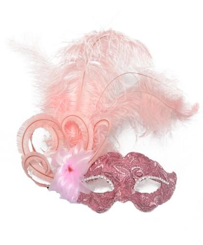 Венецианская розовая маска , перья, папье-маше, ткань, стразы (Италия)