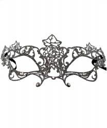 Маска серебряная с листиками Edera, металл, стразы, блестки (Италия)