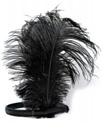 Ободок с перьями черный
