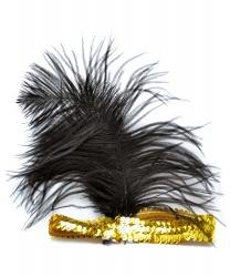 Золотая повязка с перьями - На голову, арт: 5132