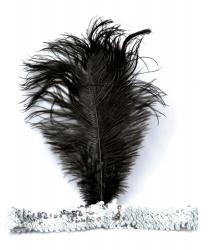 Серебряная повязка с перьями - На голову, арт: 5035