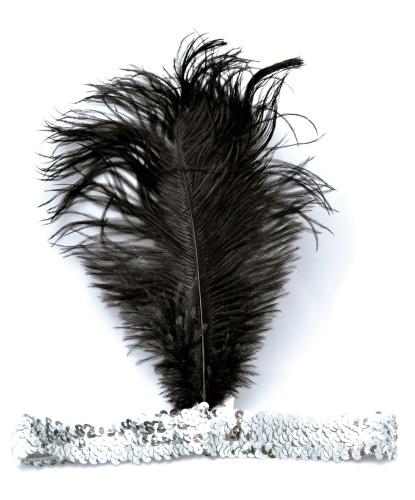 Серебряная повязка с перьями: серебряный, черный (Германия)