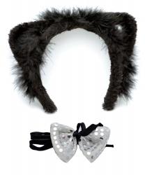 Уши и бантик кошки - Рога, нимбы, уши, арт: 6196