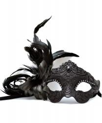 Венецианская маска черного цвета, перья, папье-маше, стразы (Италия)