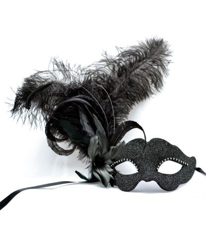 Венецианская маска в стиле Colombinа, перья, папье-маше, ткань, стразы (Италия)