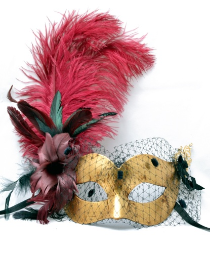 Золотая маска с вуалью и перьями, перья, папье-маше (Италия)