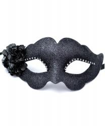 Черная венецианская маска с цветком Fiore