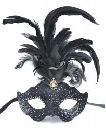 Венецианская маска в стиле Коломбина с перьями, перья, папье-маше, ткань, стразы (Италия)