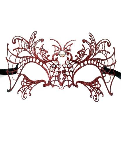 Венецианская маска Farfalla с красными блестками, металл, блестки (Италия)