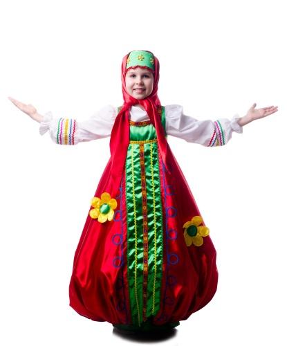 Детский костюм Матрешки: платье, головной убор, платок (Украина)
