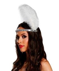 Серебряная тиара с белым пером - На голову, арт: 7140
