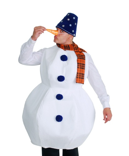 Мужской костюм снеговика: блузон, головной убор, шарф, морковка (Украина)