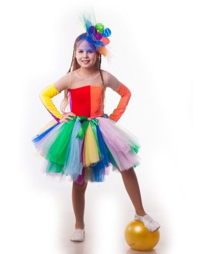Костюм клоунессы Ватрушки на девочку: комбинезон, пачка, головной убор (Украина)