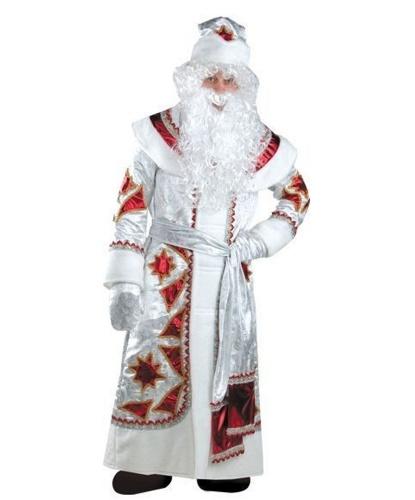 Дед Мороз серебряно-красный: шуба, пояс, шапка, варежки, мешок, парик, борода (Россия)