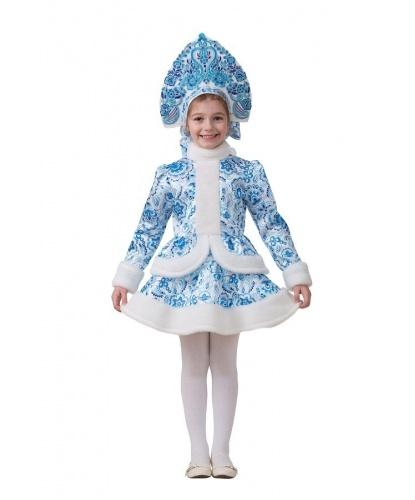 Детский костюм Снегурочка Гжель: кафтан, юбка, кокошник (Россия)
