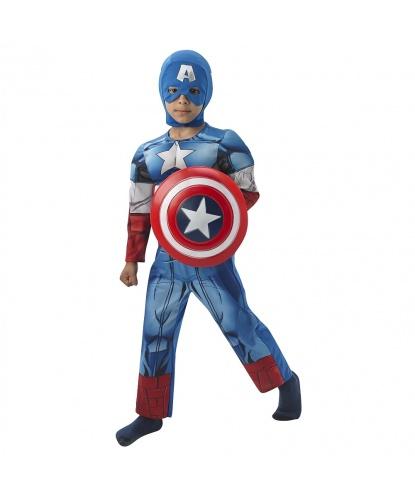 Детский костюм Капитан Америка: комбинезон, маска, щит (Германия)