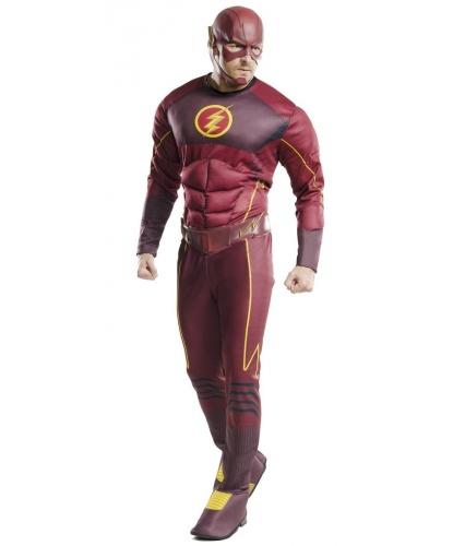 Взрослый костюм Flash: комбинезон накладками на обувь, маска, пояс (Германия)