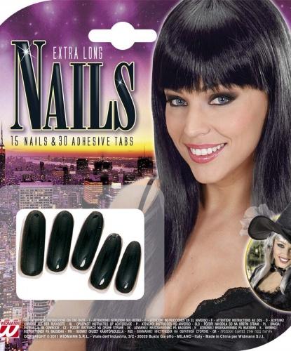 Длинные, черные накладные ногти : 15 ногтей, 30 шт. двухсторонние наклейки (Италия)
