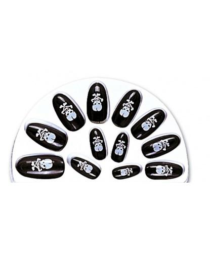 Накладные ногти с черепами: 12 ногтей, 24 двухсторонние наклейки (Италия)