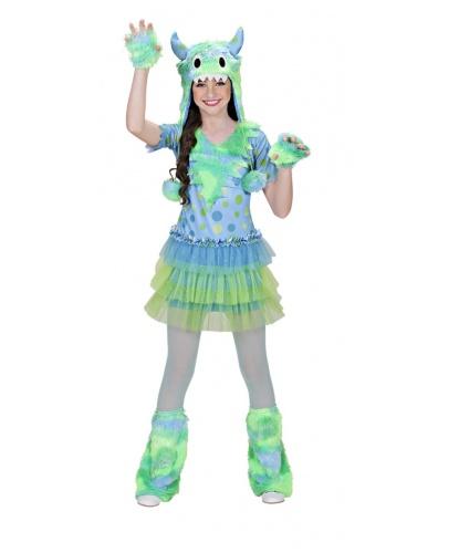 Детский костюм космического монстра зелено-голубой: платье, шапка, митенки, гетры (Италия)