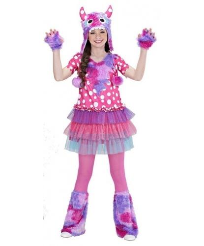 Детский костюм розового монстра : платье, шапка, митенки, гетры (Италия)