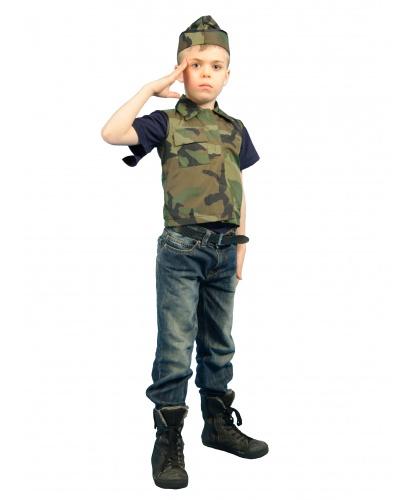 Детский костюм солдата: жилет, пилотка (Россия)