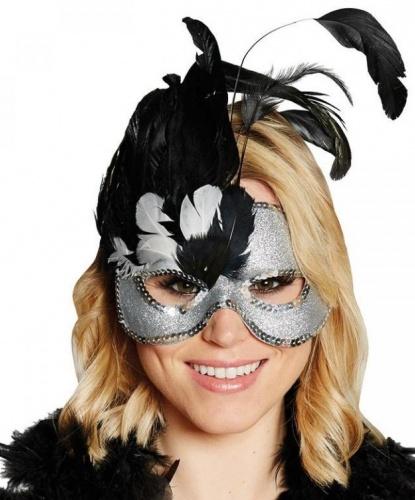 Серебряная маска с перьями, полиэстер, перья (Германия)