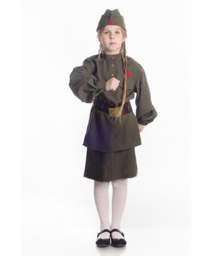 Костюм военный для девочки: юбка, гимнастерка, пилотка, ремень (Украина)