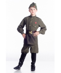 Костюм солдата на мальчика: гимнастерка, галифе, пилотка, имитация сапог, ремень (Украина)
