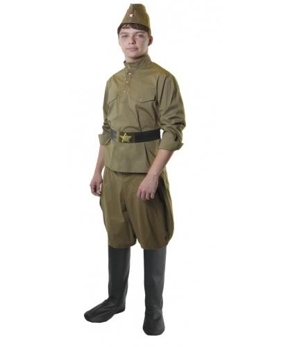 Костюм солдата на взрослого: гимнастерка, брюки-галифе, пилотка, ремень (Россия)