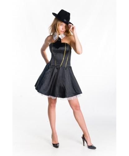 Женский костюм в гангстерском стиле: платье на корсетной основе, подъюбник, шляпа, воротничок, галстук (Украина)