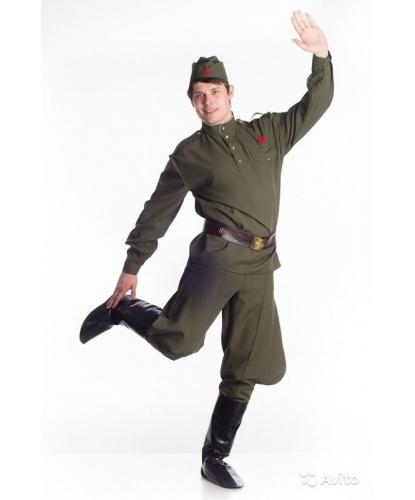 Костюм солдата мужской:  гимнастерка, галифе, имитация сапог, пилотка, ремень (Украина)