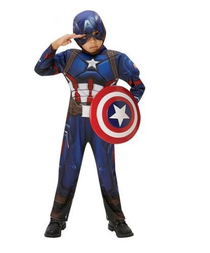 Костюм капитана Америка: комбинезон, тканевая маска, щит (Германия)