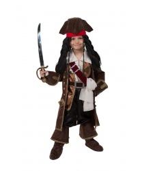 Детский костюм Капитан Джек Воробей: рубаха с жилетом, брюки, накадки, камзол, бандана, треуголка, пояс, кушак, парик, сабля (Россия)