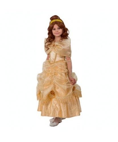 Костюм принцессы Белль: платье, подъюбник, перчатки, брошь, парик, обруч (Россия)