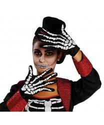 Перчатки с костями скелета