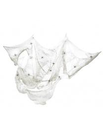 Белая паутина с пауками, 8 м2, 4 паука