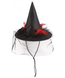 Мини колпак ведьмы с перьями и вуалью