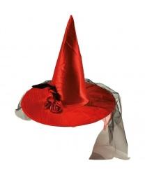 Красный колпак из сатина с вуалью и цветком