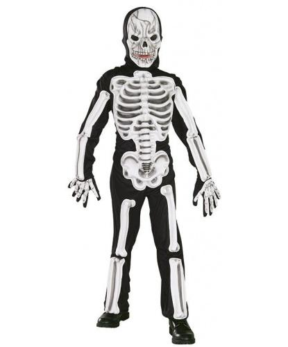 Детский костюм скелета с объемными костями: комбинезон, маска (Германия)