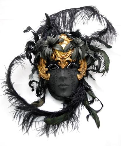 Венецианская маска Volto Dark, перья, папье-маше, стразы, блестки (Италия)