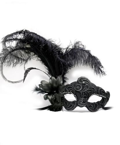 Черная венецианская маска с пером, перья, папье-маше (Италия)